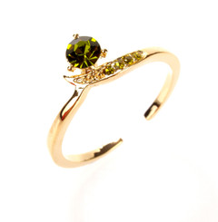 Gold Plated Green Crystal Twisted Toe Ring