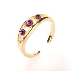 Gold Plated Purple Crystal Triple Diamond Toe Ring