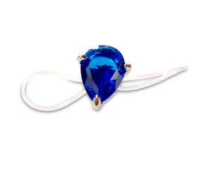 Elasticated Blue Crystal Teardrop Toe Ring