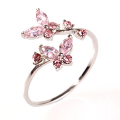 Silver Plated Pink Crystal Twin Butterfly Toe Ring