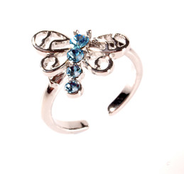 Silver Plated Blue Crystal Large Dragonfly Toe Ring