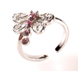 Silver Plated Pink Crystal Large Dragonfly Toe Ring