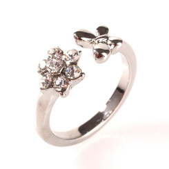 Silver Plated Clear Crystal Flower & Butterfly Toe Ring