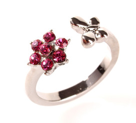 Silver Plated Hot Pink Crystal Flower & Butterfly Toe Ring