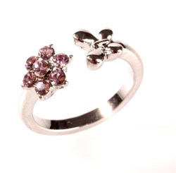 Silver Plated Pink Crystal Flower & Butterfly Toe Ring