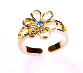 Gold Plated Blue Crystal Flower Toe Ring