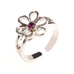 Silver Plated Purple Crystal Flower Toe Ring