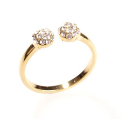 Gold Plated Clear Crystal Berry Ball Toe Ring