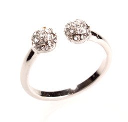 Silver Plated Clear Crystal Berry Ball Toe Ring