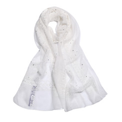 Daisy Coin White Lace Scarf