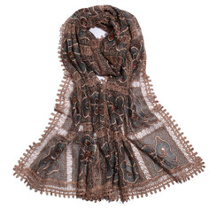 Dark Brown Cube Gardenia Lace Scarf