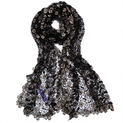 Daisy Web Lace Grey Scarf