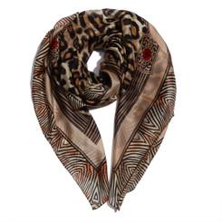 Brown Leopard & Zebra Print Chiffon Scarf
