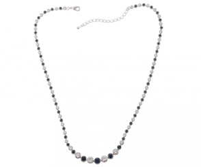 Silver Plated Black & Clear Crystal Necklace