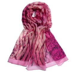 Bold Pink Leopard Print Chiffon Scarf