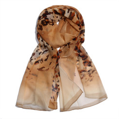 Brown Scattered Leopard Print Chiffon Scarf