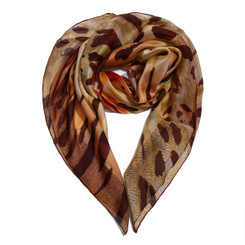 Brown Animal Print Chiffon Scarf