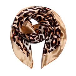 Brown Leopard Print 100% Silk Scarf