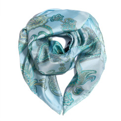 Light Blue Floral Paisely 100% Silk Scarf