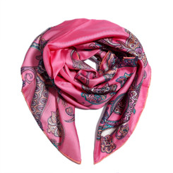 Dark PInk Floral Paisely 100% Silk Scarf