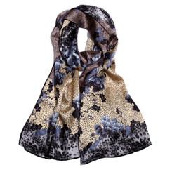 Blue Oriental Flower Print 100% Silk Scarf
