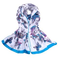 Blue Butterfly Print Silk Scarf