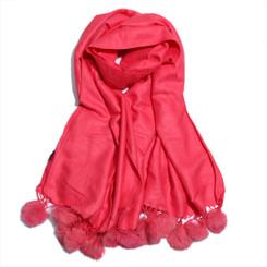 100% Pink Tencel Wool Pom Pom Scarf