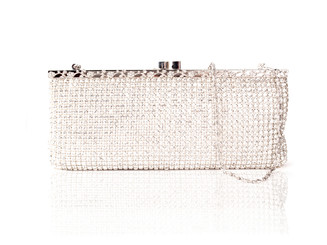 Long Silver Crystal Bag
