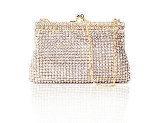 Gold Clear Crystal Rose Bag