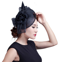 Black Rose Feather Fascinator