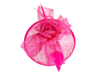 Hot Pink Rose Feather Fascinator