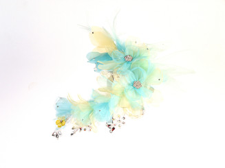 Green, Blue & Yellow Decorative Crystal Lace Fascinator