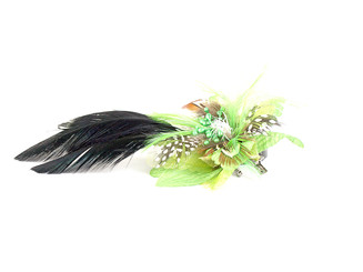 Flower fascinator with crystal and feather
