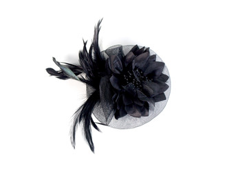 Crystal Flower Fascinator with Feathers