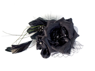 Flower fascinator with black feather