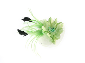 Lace Flower Fascinator with Feather