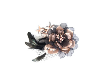Lace Flower Fascinator with Feather and Crystals