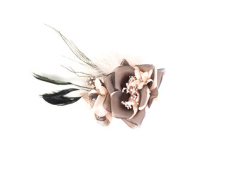 Pink & Black Flower Fascinator with Feather