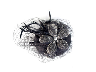 Black Spiral Flower Fascinator