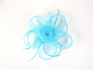 Sky Blue Feather Flower Fascinator