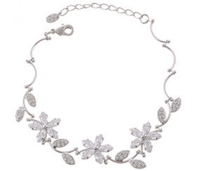 Silver Plated Clear Crystal Flower Bracelet