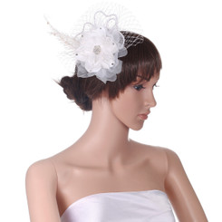 White heart and flower fascinator