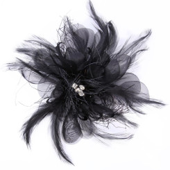Black feather flower fascinator