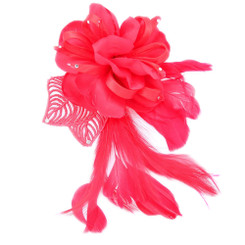 Red ribbon flower fascinators