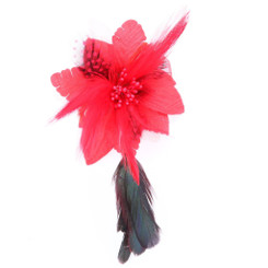 Red flower with black feather fascinator
