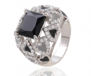 Square Cut Cluster Ring