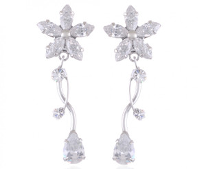 Silver Plated Clear Crystal Flower Earrings