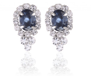 Silver Plated Small Oval Crystal Earrings With A Clear Crystal Frame