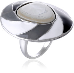 Silver Plated Black & White Enamel Flying Saucer Ring
