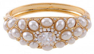 Gold Plated White Pearl & Clear Crystal Bangle